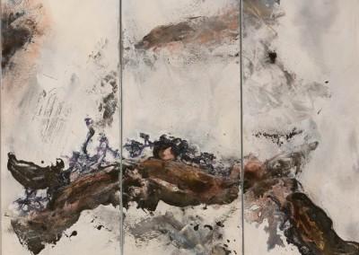 49/14 Collage Papier, Zement, Schellack, Bitumen